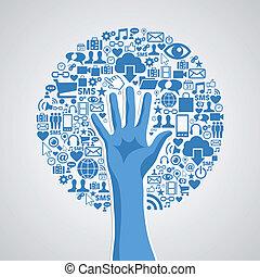 begriff, medien, baum, hand, sozial, netze
