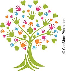 Behandeln Sie Menschen Hand und Herzen Logo.