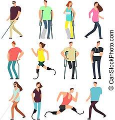 behinderten, charaktere, leute, set., freigestellt, behindertes, personen, vektor, hintergrund, weißes, karikatur