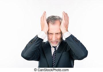 beibehaltung, klage, schrecklich, berühren, geschlossene augen, headache., seine, alter mann, kopf