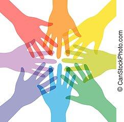 beitreten, bunte, leute, viele, hand, gemeinschaftsarbeit, transparent