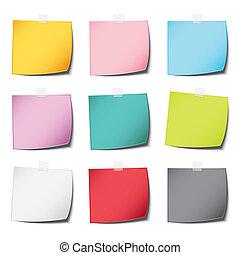 Beliebte Post-Farbpapier Note Vintage und realistischen Schatten mit multiply isolierten weißen Hintergrund.