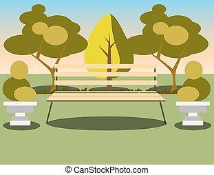 Bench unter einem Baum im Park.
