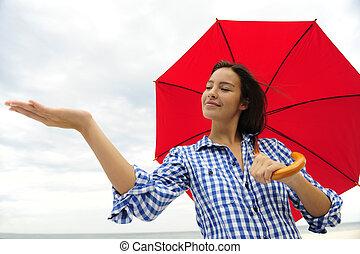berühren, frau, schirm, rotes , regen