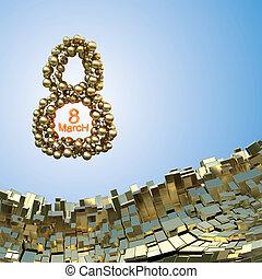 berg, gruß, aus, hintergrund, bereiche, boxes., 8, goldenes, wort, gemacht, dekorativ, 3d, abbildung, international, day., frau, fliegendes, metall, landschaftsbild, raum, postkarte, abstrakt, märz