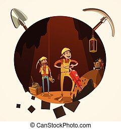 bergbau, karikatur, abbildung