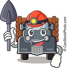 bergbauarbeiter, form, alter lastwagen, maskottchen