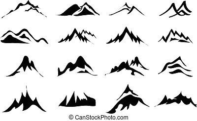 Berge-Ikonen eingestellt.