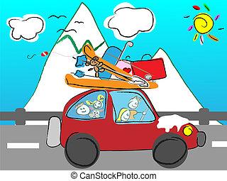 berge, reise, familie
