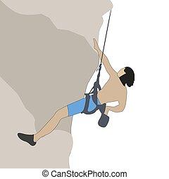 bergsteiger, seil, fels klettert, mann