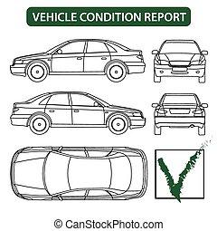 bericht, bedingung, kontrollieren, (car, fahrzeug