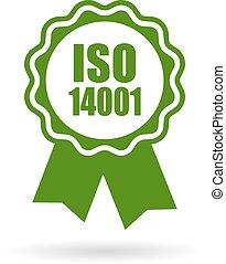 bescheinigt, iso, 14001, ikone, grün