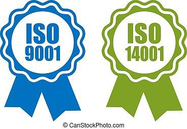 bescheinigt, iso, 14001, standard, 9001, ikone