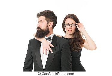 besondere, romance., valentines, förmlichkeit, feiern, smoking, partnership., paar, liebe, elegant, concept., frau, tag, occasion., unleashed, sexy, geschaeftswelt, desire., mann, fashion., love.