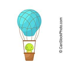 bestand, haus, balloon., blaues, zeichen, heiß, wenig, baby, illustration., vektor, childrens, party, fliegen, album, luft, grüßen karte, turtle, interior., buch, einladung, reizend, dusche, karikatur