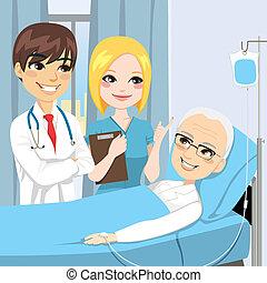 besuch, älter, patient, doktor