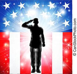 bewaffnet, uns, salutieren, kräfte, fahne, militaer, soldat, silhouette