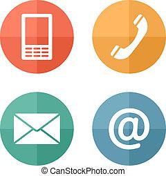 beweglich, satz, heiligenbilder, briefkuvert, -, tasten, kontakt, telefon, post