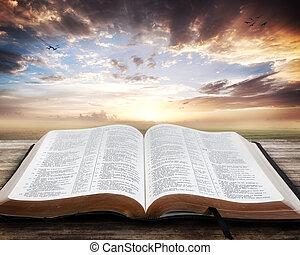 bibel öffnen, sonnenuntergang