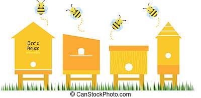 Bienenhäuser Frühlings Sammlervektoren