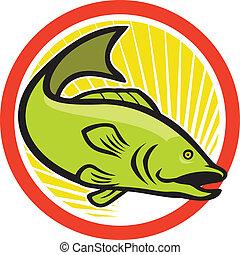 Bigmouth Bass Spring Cartoon Circle.