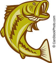 Bigmouth Bass Spring Cartoon.