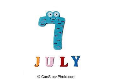 Bild 7. Juli auf weißem Hintergrund. Sommertag.