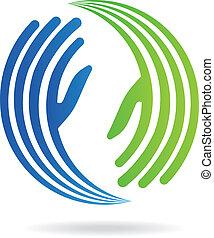 bild, hände, pakt, logo