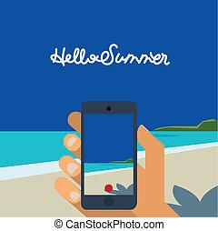bild, smartphone, machen, hand holding, sandstrand, hallo, sommer