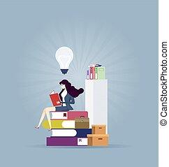 bildung, idee, -, lesende , begriff, finden, geschäftsfrau, neu , buch