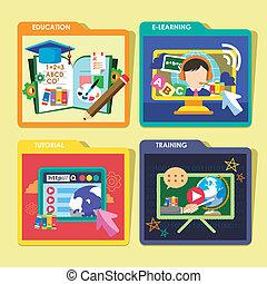 Bildungskonzepte Icons in flachem Design.