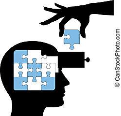 Bildungsteilnehmer lernen Gedanken-Präparate