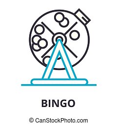 Bingo Thin Line Icon, Zeichen, Symbol, Illustation, lineares Konzept, Vektor.