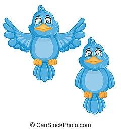 birds., reizend, karikatur, abbildung