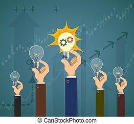 birnen, erfolg, leute, licht, business., ihr, halten, hands.