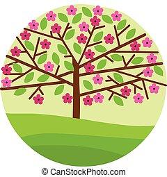 Blüte des Frühlingsbaums mit Blumen und Blättern