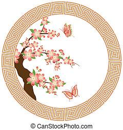blüte, kirschen, tapete, orientalische