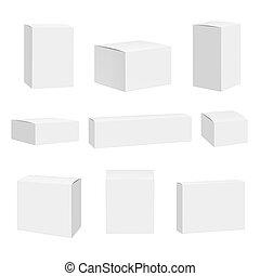 Blanke weiße Schachtel. Pakete Container quadrieren Boxen detaillierte realistische Vektor Spotup