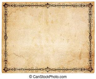 Blankes, antikes Papier mit siegischer Grenze