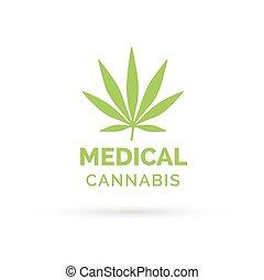 blatt, medizin, marihuana, cannabis, design, hanf, symbol, ikone