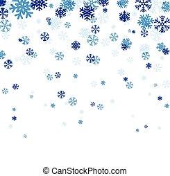 Blau fallende Schneeflocken.