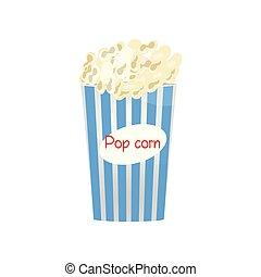 Blau-weißes Popcorn mit Imbiss im weißen Hintergrund