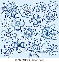 Blaue Blumen-Doodles-Vektoren
