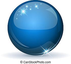 Blaue Glutkugel isoliert auf weiß.