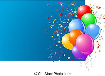 Blaue Karte mit bunten Ballons
