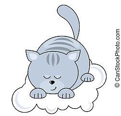 blaue katze, hübsch, klein, eingeschlafen, wolke