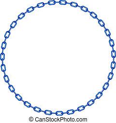 Blaue Kette in Form von Kreis.