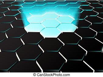 blaue lichter, sechseckig, perspektive, hintergrund