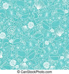 Blaue Muscheln strecken Kunst, nahtloser Hintergrund