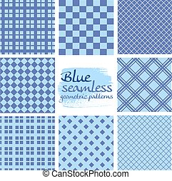 Blaue, nahtlose geometrische Muster im Quadrat.